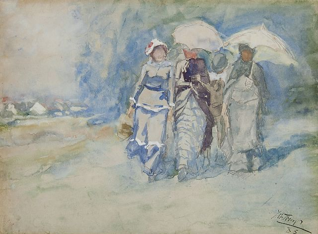 Toorop J.Th.  | Elegant company on an path in the dunes, watercolour on paper, 24.4 x 33.3 cm, signed l.r. and dated '85