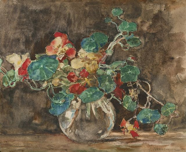 Johannes Evert Hendrik Akkeringa | A vase with nasturtium, charcoal and watercolour on paper, 29.4 x 35.3 cm, signed l.r.