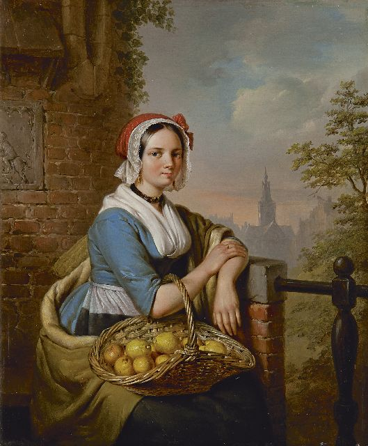 Elisabeth Alida Haanen | The lemon seller, oil on panel, 33.3 x 27.9 cm, signed l.r. and dated 1844