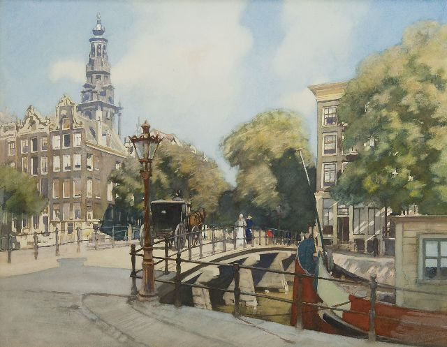 Hendrik Willebrord Jansen | A view of the bridge over the Kloveniersburgwal, Amsterdam, watercolour on paper, 45.5 x 56.8 cm, signed l.r.