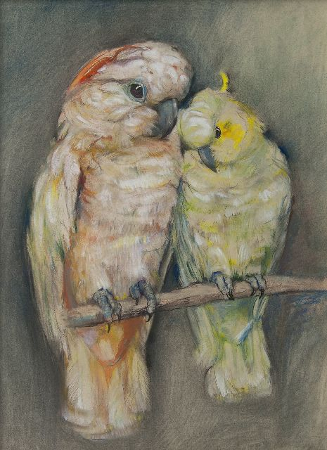 Johanna Pieneman | Two cockatoos, pastel on paper, 47.2 x 34.9 cm, signed l.r.
