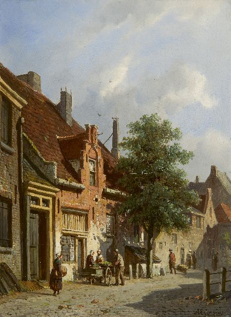 Adrianus Eversen | A view of the Breesteeg in Haarlem, oil on panel, 25.0 x 18.6 cm, signed l.r.