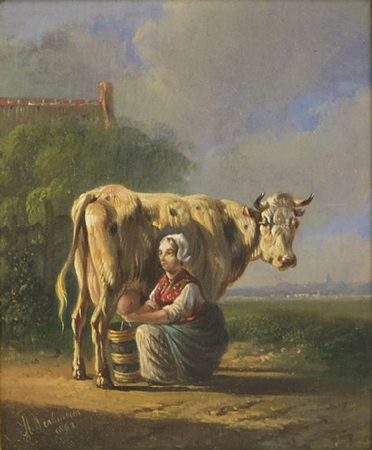 Albertus Verhoesen | A peasant woman milking a cow, oil on panel, 12.5 x 10.4 cm, signed l.l. and dated 1863