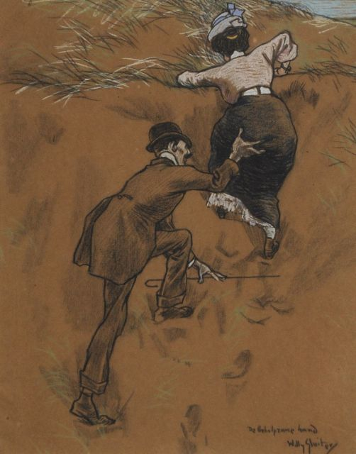 Sluiter J.W.  | The helping hand, chalk on coloured paper 38.7 x 31.5 cm, signed l.r. and executed ca. 1908