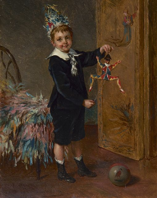 Albert Roosenboom | The young entertainer, oil on panel, 24.0 x 18.8 cm, signed l.l.