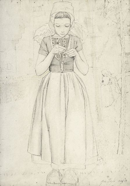 Heyse J.  | A girl from Walcheren, pencil on paper 25.3 x 17.7 cm, signed l.r. and dated Aug '11