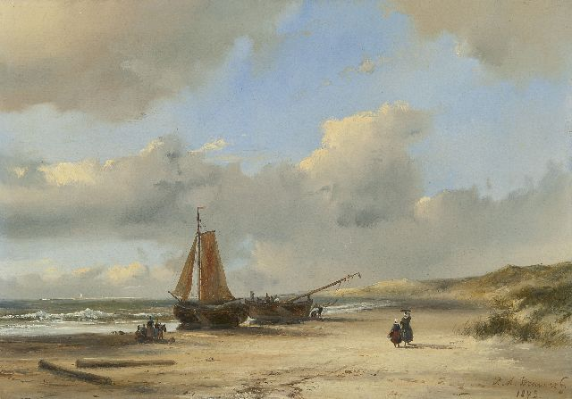 Petrus Marius Brouwer | Fishing barges on the beach, oil on panel, 21.2 x 30.2 cm, signed l.r. and dated 1843