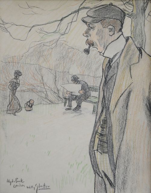 Willy Sluiter | In Hyde Park, London, chalk on paper, 28.8 x 22.8 cm, signed l.l.