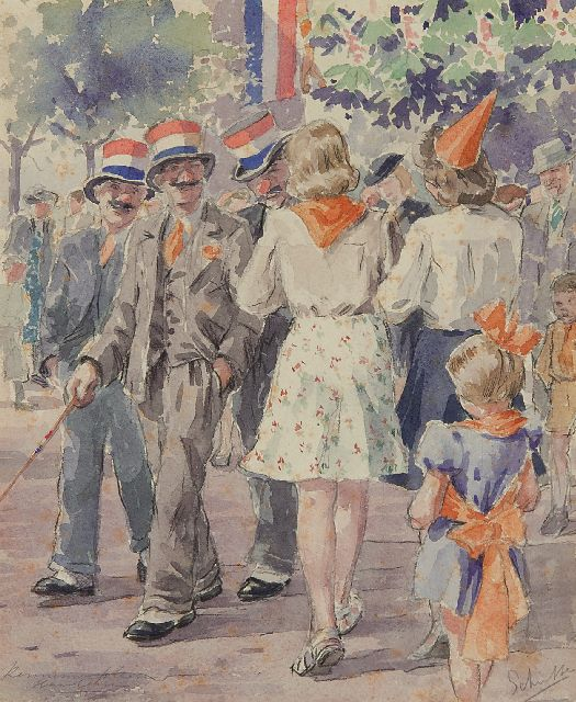 Louis Schutte | Celebrating the Queen's Birthday on the Kennemerplein in Haarlem, chalk and watercolour on paper, 25.4 x 20.9 cm, signed l.r.