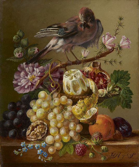 Onbekend | A still life with fruit and a bird on a branch, oil on panel, 21.5 x 18.0 cm, signed l.r.  'H R geb. S'