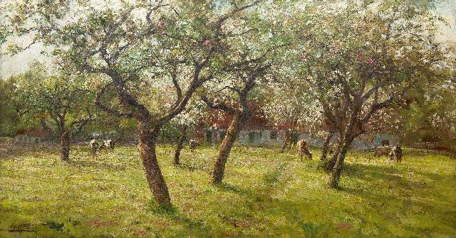 Evert Pieters | Cattle grazing by the cherry blossom, oil on canvas, 80.0 x 148.6 cm, signed l.l.