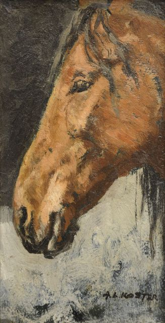 Anton L. Koster | A horse's head, oil on panel, 21.7 x 11.5 cm, signed l.r.
