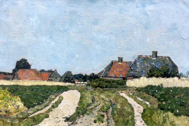 Zandleven J.A.  | A farmstead, oil on canvas 35.0 x 50.2 cm, signed l.r. and dated 1914