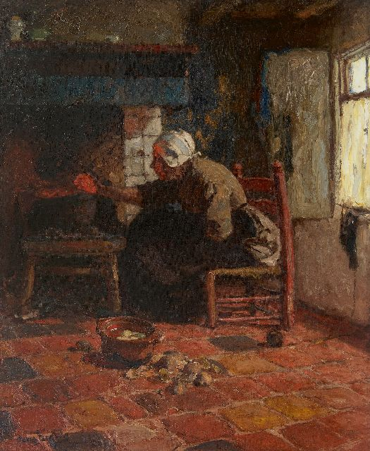 Hans von Bartels | A woman from Katwijk near the fire, oil on canvas, 67.3 x 55.0 cm, signed l.l.