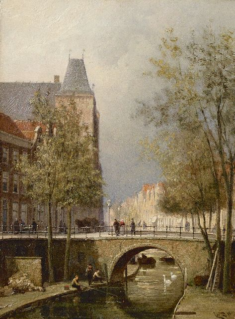 Cornelis Christiaan Dommelshuizen | View of the Oudegracht with Oudaen, Utrecht, oil on canvas, 28.3 x 21.3 cm, signed l.r. with initials and dated '94