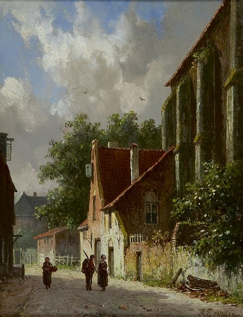 Adrianus Eversen | Figures in a sunny village street, oil on panel, 18.9 x 14.9 cm, signed l.r. and on a label on the reverse