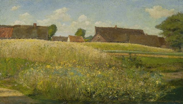 Leo Gestel | Farms along a cornfield, oil on canvas, 37.0 x 62.5 cm, signed l.r. and dated 1904
