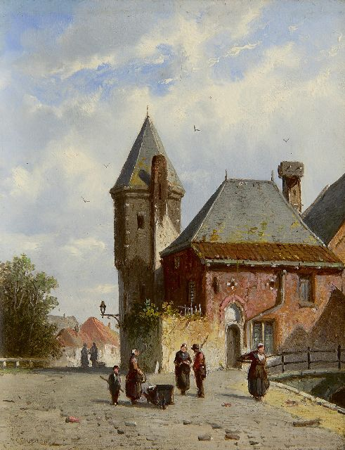 Adrianus Eversen | A sunny quay with figures and the Koppelpoort, Amersfoort, oil on panel, 19.3 x 15.0 cm, signed l.l. and on a label on the reverse