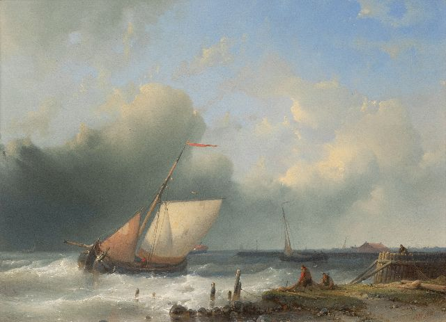 Abraham Hulk | Ships sailing off the coast, oil on panel, 26.6 x 36.2 cm, signed l.r.