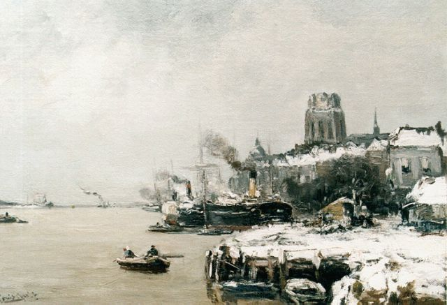 Louis Apol | A view of Dordrecht in winter, oil on canvas, 44.7 x 60.0 cm, signed l.l.