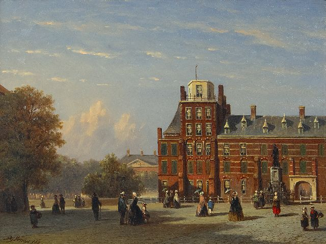 Petrus Gerardus Vertin | View of the Buitenhof in The Hague, as seen in the direction of the Stadhouderlijk Kwartier, oil on panel, 18.6 x 25.2 cm, signed l.l. and dated '62