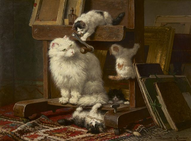 Henriette Ronner-Knip | Cat and her kittens in a painter's studio, oil on panel, 54.5 x 72.0 cm, gesigneerd r.o. and dated 1878