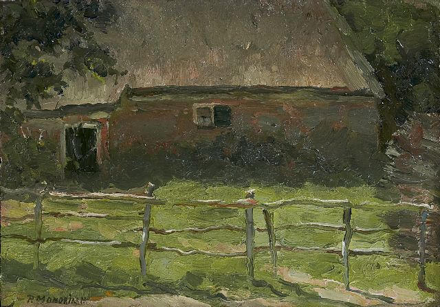 Mondriaan P.C.  | A farm behind a fence, oil on canvas laid down on panel, 20.5 x 29.1 cm, signed l.l. and to be dated 1897-1900 poss. 1904