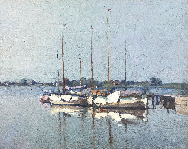 Cornelis Vreedenburgh | Moored sailing boats in the morning sun, oil on board, 34.7 x 43.5 cm