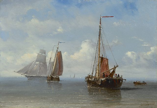 Petrus Paulus Schiedges | Sailing ships at sea, oil on panel, 23.8 x 34.1 cm, signed l.r. and dated '58