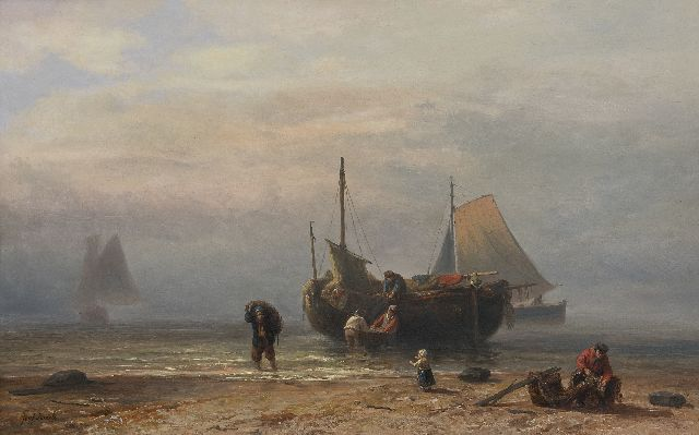 Jozef Israëls | Fishing boat on the beach (probably Zandvoort), oil on panel, 45.0 x 72.1 cm, signed l.l. and on label on the reverse