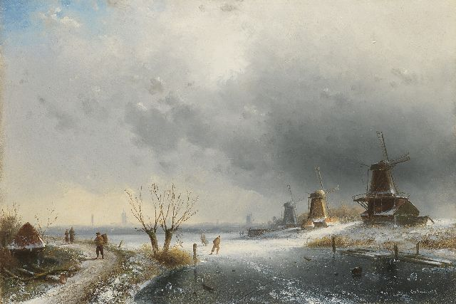 Charles Leickert | A river landscapein winter with windmills and skaters, oil on panel, 31.9 x 47.2 cm, signed l.r.