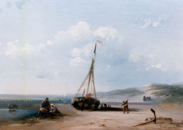 Desiré Donny | Activities on the beach, oil on panel, 18.1 x 23.8 cm, signed l.r. and dated '52