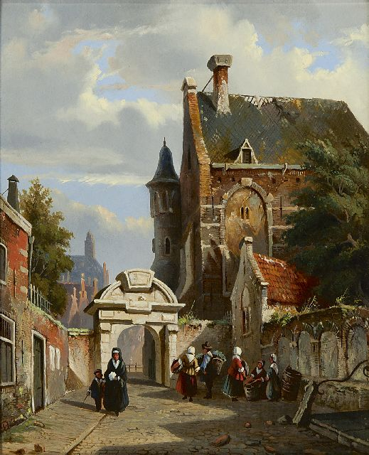 Adrianus Eversen | A town view with the Amsterdam Zuiderkerkhofpoort, oil on panel, 26.1 x 21.3 cm, signed l.l. with monogram and painted ca 1852