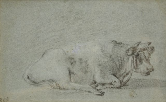 Barend Cornelis Koekkoek | Study of a resting cow, chalk on coloured paper, 13.2 x 21.0 cm, signed l.l. with initials