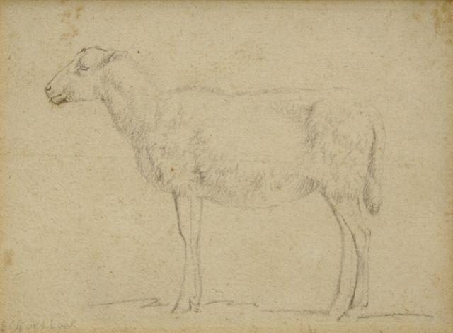 Barend Cornelis Koekkoek | Study of a sheep, chalk on paper, 8.9 x 12.0 cm, signed l.l.