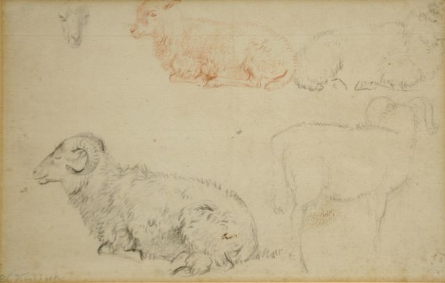 Barend Cornelis Koekkoek | Study of rams and sheep, chalk on paper, 15.2 x 23.8 cm, signed l.l.