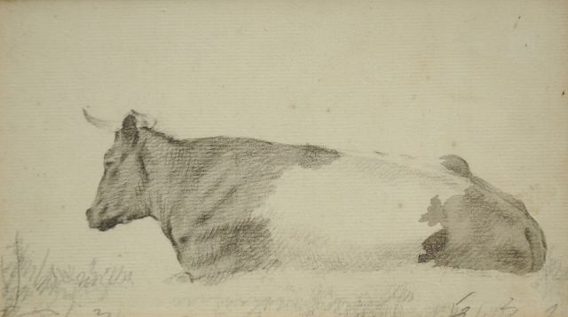 Barend Cornelis Koekkoek | Study of a resting cow, chalk and watercolour on paper, 10.1 x 18.2 cm
