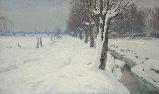 Johan Meijer | Winter near Blaricum, oil on canvas, 60.7 x 100.8 cm, signed l.r.