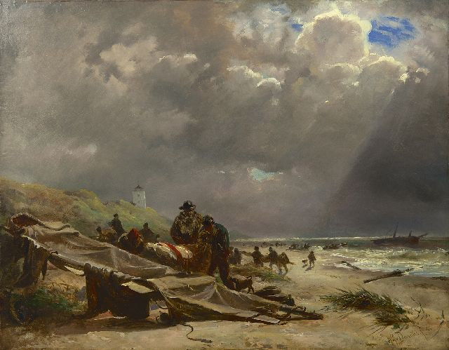 Willem van Deventer | Shipwreck on the beach of Katwijk, oil on paper laid down on painter's board, 46.3 x 59.6 cm, signed l.r. and dated '44