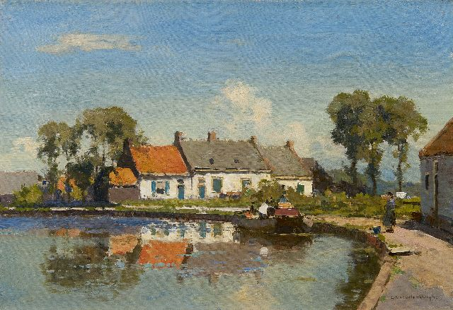 Cornelis Vreedenburgh | Houses along a river, oil on canvas, 30.3 x 43.6 cm, signed l.r.