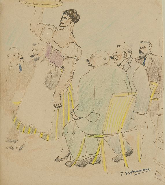 Ferdinand Erfmann | The German waitress, pen, ink and pencil on paper, 21.0 x 18.9 cm, signed l.r.