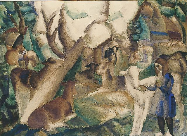 Leo Gestel | Spring in the Beemster, watercolour on paper, 71.5 x 98.7 cm, painted in 1921-1922