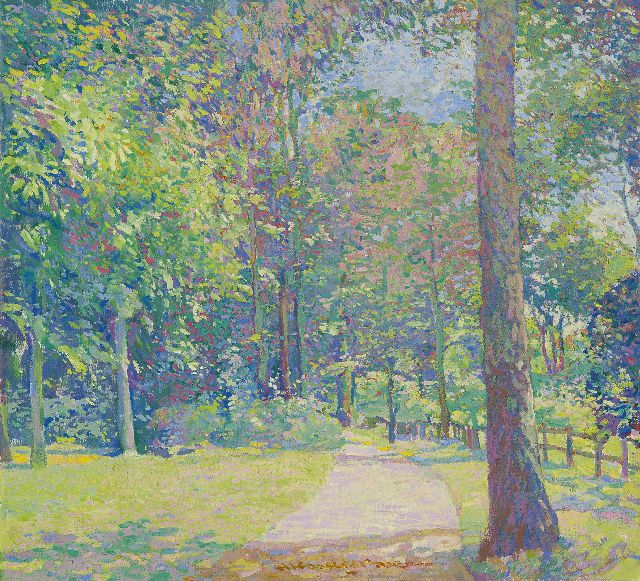 Hessel de Boer | A sunny day in the park, oil on canvas, 49.1 x 53.7 cm, signed l.m.