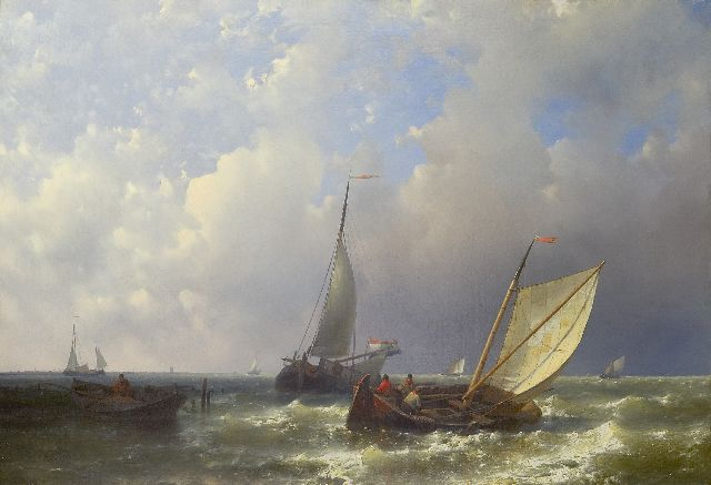 Abraham Hulk | Sailing boats in front of a harbour, oil on canvas, 49.0 x 70.2 cm, signed l.o.