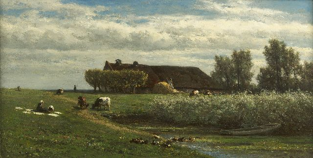 Roelofs W.  | A polder landscape with a farmer's wife bleaching clothes, oil on panel 23.0 x 45.1 cm, signed l.r.
