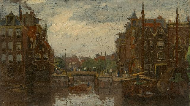 Bobeldijk F.  | A view of Amsterdam, oil on canvas laid down on board 13.0 x 21.5 cm, signed l.l.