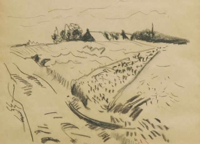 Jan Altink | Landscape, Drenthe, black chalk on paper, 26.5 x 36.2 cm, signed l.c. and painted ca. 1930