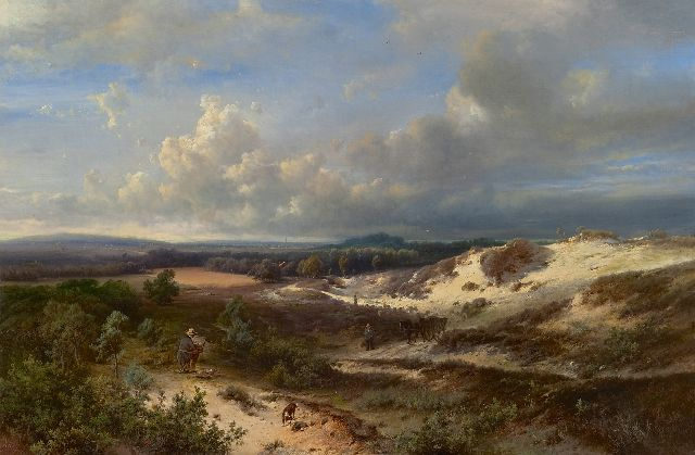 Pieter Kluyver | A painter at work in a hilly landscape, oil on canvas, 56.5 x 84.5 cm, signed l.l. 'Kluyver' and l.r. 'C. Springer fig'