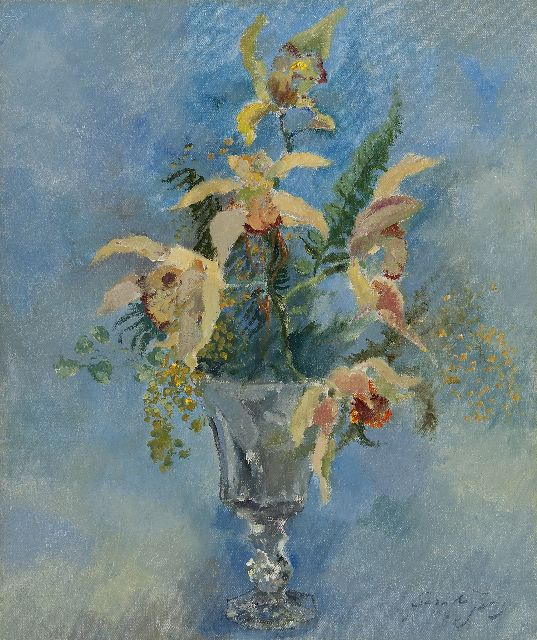 Germ de Jong | Still life with flowers, oil on canvas, 46.1 x 38.3 cm, signed l.r. and  dated 1953