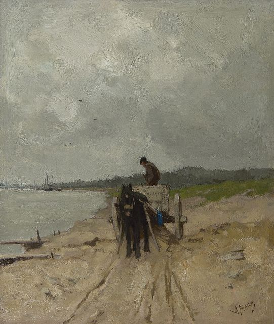 Anton Mauve | The sand-cart, oil on canvas, 32.9 x 28.1 cm, signed l.r. and painted ca. 1875-1880